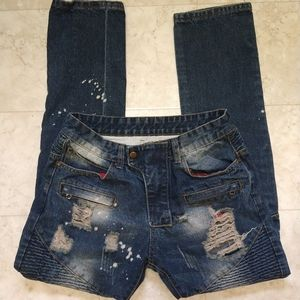 Distressed bleached bootcut jeans